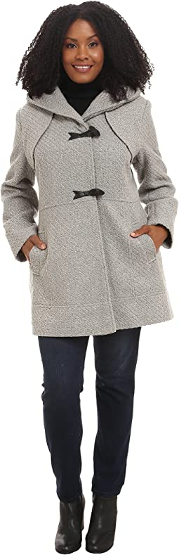 Plus Size Braided Wool Duffle Coat