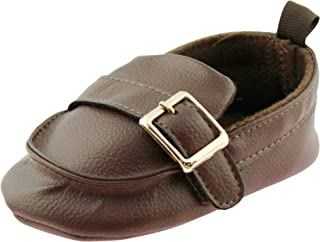 First Steps Baby Boys Slip On Loafers Newborn Dress Shoes with Buckle Brown Black