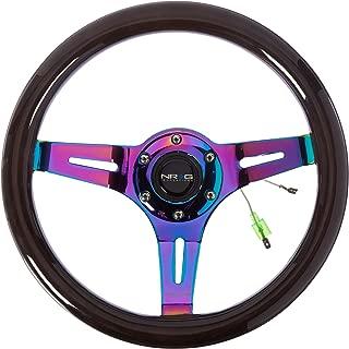 NRG Innovations ST-310BK-MC Classic Black Wood Grain Wheel (310mm, 3 Spoke Center in Neochrome)
