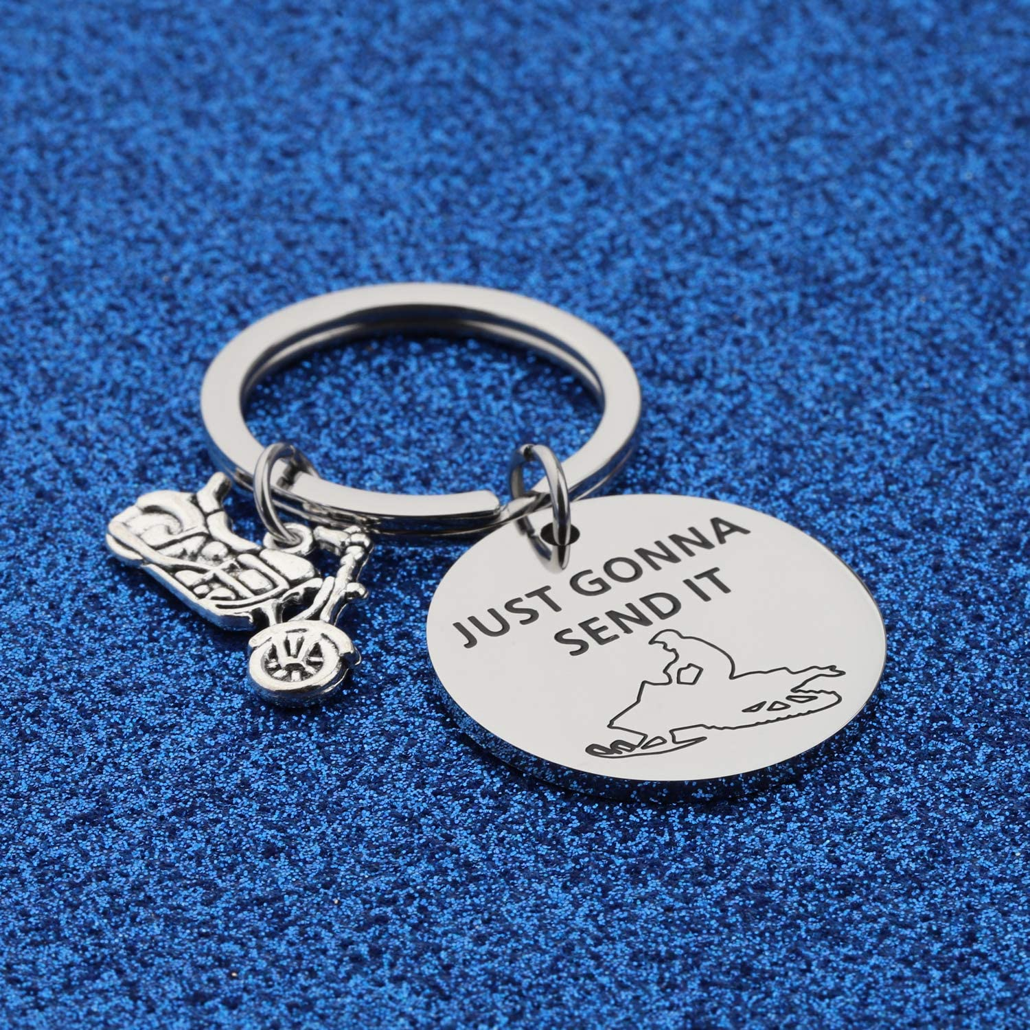 WUSUANED Snowmobiler Gift Just Gonna Send It Snowmobile Keychain Snowmobiling Gift for Riding Lover