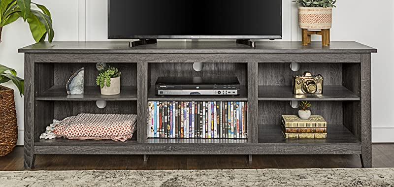 WE Furniture 70 Wood Media TV Stand Storage Console Charcoal