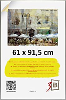 3B ALU Poster Brushed - 61x91,5 cm (ca. 24x36) with with styrene Glass - Silver Matt - Aluminium Poster Frame