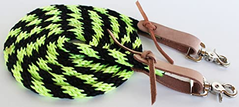 PRORIDER Horse Roping Western Barrel Contest Reins Nylon Braided 7' Lime Green 607499