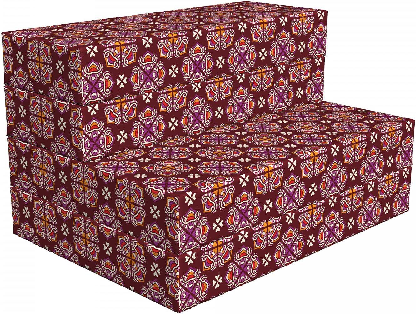 Ambesonne Tribal Foldable Mattress Swirls 74 Ornamental New arrival Max 58% OFF Floral