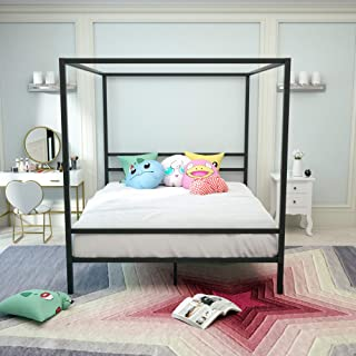mecor Metal Canopy Bed Frame with Headboard & Footboard, 4 Post Platform Bed for Kids Girls Boys Adults, No Box Spring Needed, Black/Queen Size