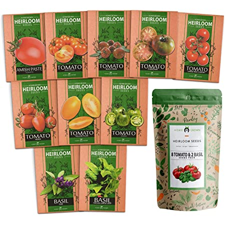 Heirloom 8 Tomato Seeds and 2 Basil Herb Seeds | Non GMO | Zebra, Roma, Yellow Plum, Amish Paste, Cherry, Cherokee, Beefsteak, Krim, Italian Basil, Thai Basil | Plant Markers and Instructions Included