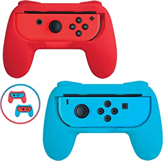 Beastron Grips Compatible with Nintendo Switch Joy Cons, Wear-Resistant Handle Kit for Nintendo Game Switch Joy-Cons Controller, 2 Pack (Red & Blue)