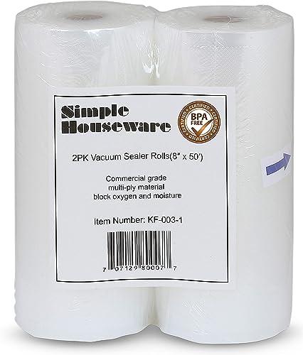 discount SimpleHouseware lowest Vacuum online Sealer Bags 8'' x 50' Sous Vide Bag Roll, 2-Pack outlet sale