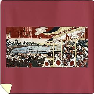 Lantern Press Horse Race in Ueno Park Japanese Wood-Cut Print 21640 (88x88 Queen Microfiber Duvet Cover)