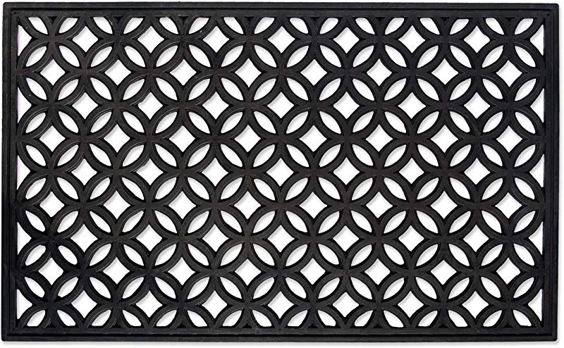 DII Indoor Outdoor Rubber Easy Clean Entry Way Welcome Doormat Floor Mat Rug For Patio Front Door All Weather Exterior Doors 18 X 30 Lattice