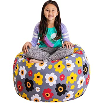 "Posh Stuffable Kids Stuffed Animal Storage Bean Bag Chair Cover - Childrens Toy Organizer, Large 38"" - Canvas Multicolored Flowers on Gray"