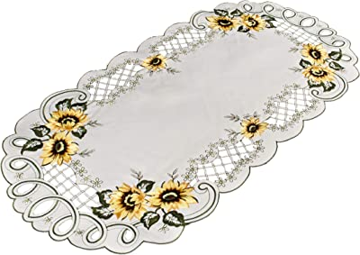 Linens, Art and Things Embroidered Sunflower Table Runner Dresser Scarf Coffee Table Doily 14 x 26 Inch