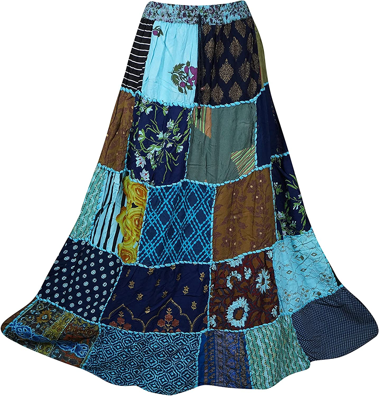 Indiatrendzs Womens Maxi Skirt Bohemian Summer Patchwork Blue Swing Skirts S/M