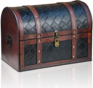 comprar comparacion Brynnberg Caja de Madera Watson 38x23x27cm - Cofre del Tesoro Pirata de Estilo Vintage - Hecha a Mano - Diseño Retro - joy...