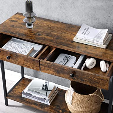 VASAGLE Console Table, Hallway Table with 2 Drawers, Sofa Table, Steel Frame, Stable, for Entrance and Living Room, Industria