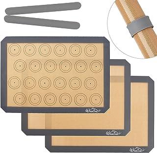 Whaline Lot de 3 tapis de cuisson en silicone antidérapants et réutilisables, résistants à la chaleur, sans BPA, pour bisc...