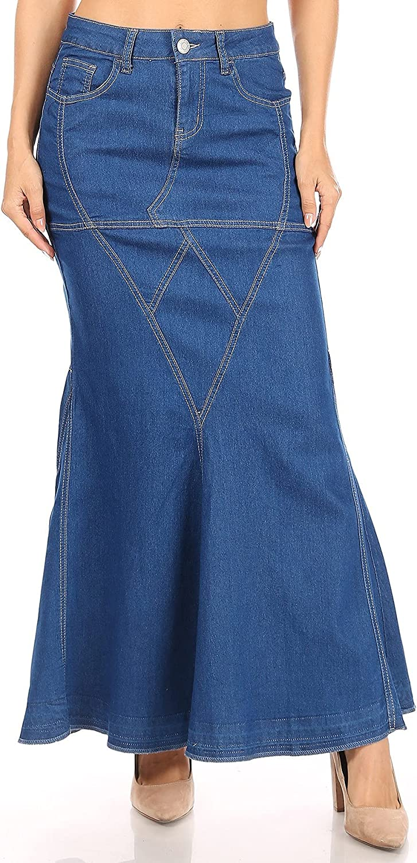Women's Juniors/Plus Size Mermaid Shape Stretch Denim Maxi Skirt