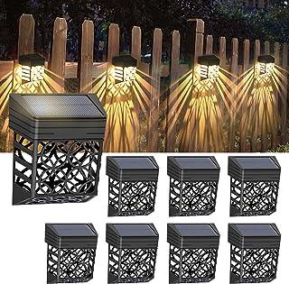 Litake 8Pack Solar Fence Lights Outdoor Solar Deck Lights Waterproof Decorative Solar Fence Wall Lighting for Garden Decor...