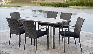 Cosco Outdoor Living 88597GBLE Cosco Outdoor Dining Set, Gray Blue