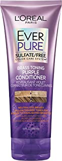 L`Oreal Paris Hair Care EverPure Sulfate Free Brass Toning Purple Conditioner for Blonde, Bleached, Silver, or Brown Highlighted Hair, 6.8 Fl. Oz