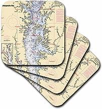 3dRose CST_204865_2 Print of Nautical Chart Chesapeake Bay Soft Coasters, (Set of 8)