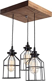 West Ninth Vintage Old Elm Wood Multi Pendant Farmhouse Chandelier - Modern Farmhouse Home Decor - Kitchen Island - Bar - Rustic Accent Light - Early American Stain - 3 sockets - Black Metal Cages