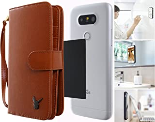 Anti-Gravity Wallet Case 4.7 inches, Luxury [Dual Wallet] Cow Leather [Card & Coin Slot] [Stick on Wall] Detachable Book Wallet Flip Case Cover for All Smart Phones Under 4.7 (Dual Brown)