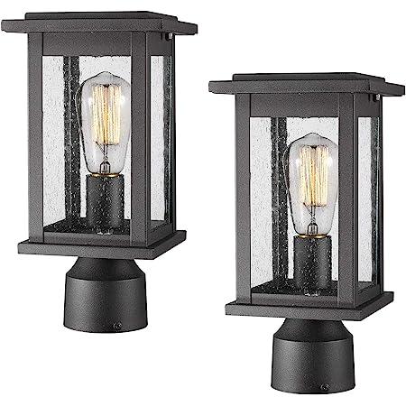 Emliviar Outdoor Post Light Fixtures 2 Pack Exterior Pillar Light In Black Finish With Seeded Glass 1803ew1 P 2pk Amazon Com
