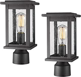 Emliviar Outdoor Post Light Fixtures 2 Pack, Exterior Pillar Light in Black Finish with Seeded Glass, 1803EW1-P-2PK