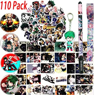 My Hero Academia Stickers Gift Set - 73 Pcs Anime Cartoon Laptop Stickers, 30 Postcards, 1 Midoriya Izuku Keychain, 4 Button Pins, 1 Pen, 1 Cute Adhesive Tape for MHA Fans