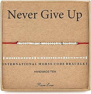 أساور متدلية للنساء من RareLove مطبوع عليها عبارة Never Give Up Morse Code من الفضة الإسترلينية، حماية من الخيوط الحمراء، ...