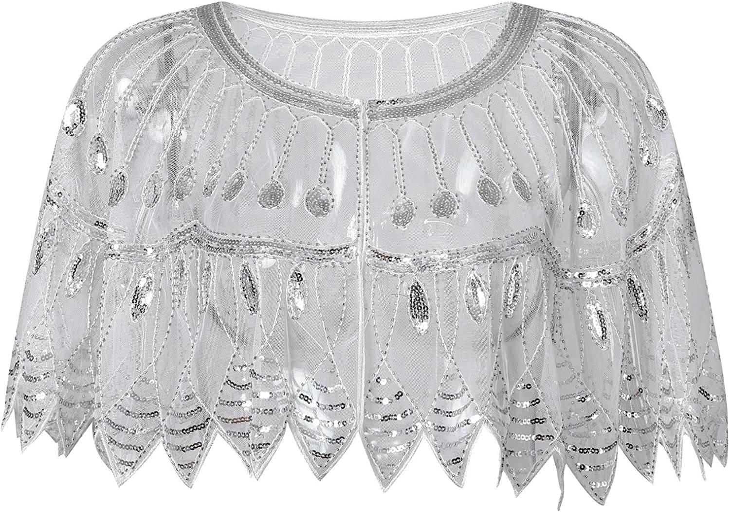 Whitewed Embroidered Gatsby Evening Party Shoulder Arm Cover Wrap Shawl Sheer