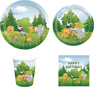 CC HOME Jungle Theme Birthday Party Supplies Sets,Wild One Birthday Supplies Pack – Serves 16 – Includes Plates, Cups and Napkins. Safari Animal Party Decorations,Supply Tableware Set Kit for Zoo Animal,Forest Animals Baby Shower or Birthday Party Supplies Favor