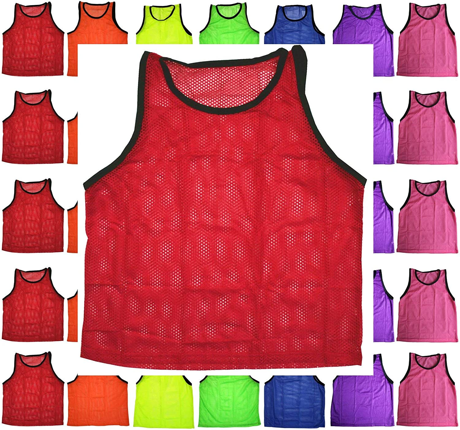 BlueDot Trading Adult Sports Pinnie Scrimmage Training Vest, Green, 12 Pack : Football Flak Jackets : Clothing