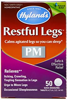 Restful Legs Nighttime PM Tablets by Hyland's, Natural Itching, Crawling, Tingling and Leg Jerk Relief, 50 Count