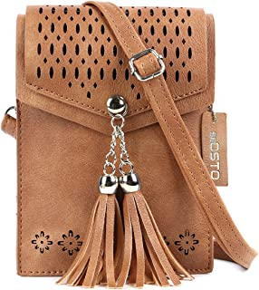 Womens Small Crossbody Bag, Tassel Cell Phone Purse Holder Wallet