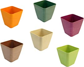 Set of 6 Tapered Square Mini Planters in Assorted Colors, Made of Bamboo Fiber (ASSORTED)