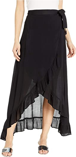 Solid Ruffle Wrap Skirt