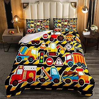 Cartoon Truck Comforter Set Full Size Boys Kids Truck Excavators Pattern Down Comforter, Girls Children Equipment Trucks D...