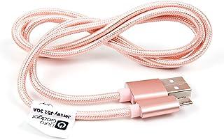 DURAGADGET Cable USB a Micro USB en Color Rosa. para Carga y Transferencia de Datos para GPS Tomtom GO 6200 World/Tomtom 1...