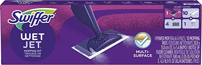 Swiffer Wetjet Hardwood & Floor Spray Mop Cleaner Starter Kit, Includes: 1 Power Mop, 10 Pads, Cleaning Solution, Batteries