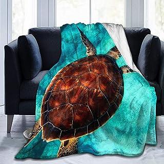 Turtle 02, 59x 79 Sea Turtle Blanket Microfiber Plush Sherpa ...