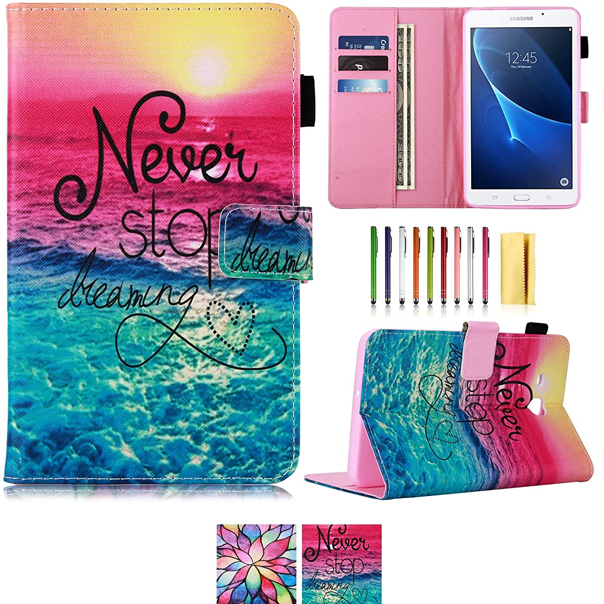 Tab A 7.0 Case,UUcovers Lightweight Stand Cover Wallet Case with Card/Cash Slots for Samsung Galaxy Tab A 7.0 Inch Tablet 2016 Release/SM-T280/SM-T285 (Never Stop)