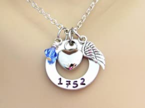 In Memory Of Cremation Necklace With Badge Number and Stainlees Steel Heart Urn, Silver Angel Wings and Swarovski Birthstone, Memorial Ash Urn Necklace, Fallen Police Officer