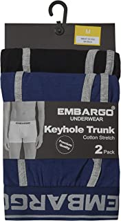 Embargo Underwear Mens 2 Pack Keyhole Trunk Boxer Shorts