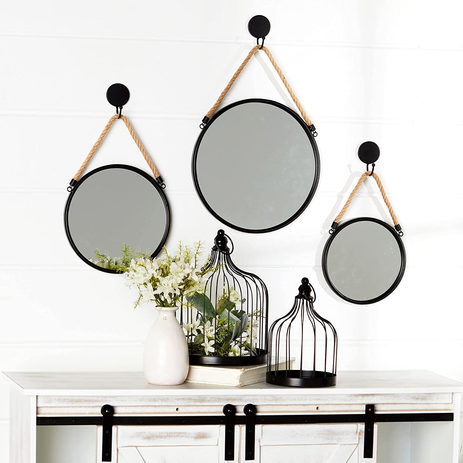 The Lakeside Collection Farmhouse Mirrors with Rope Hangers - Boho Wall Decor - Set of 3 - Round