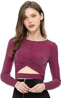 Allegra K Women's Long Sleeve Crew Neck Cut Out Glitter Cross Crop Tops