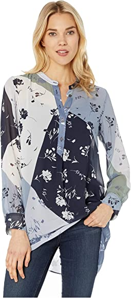 Long Sleeve Floral Patchwork Henley Tunic