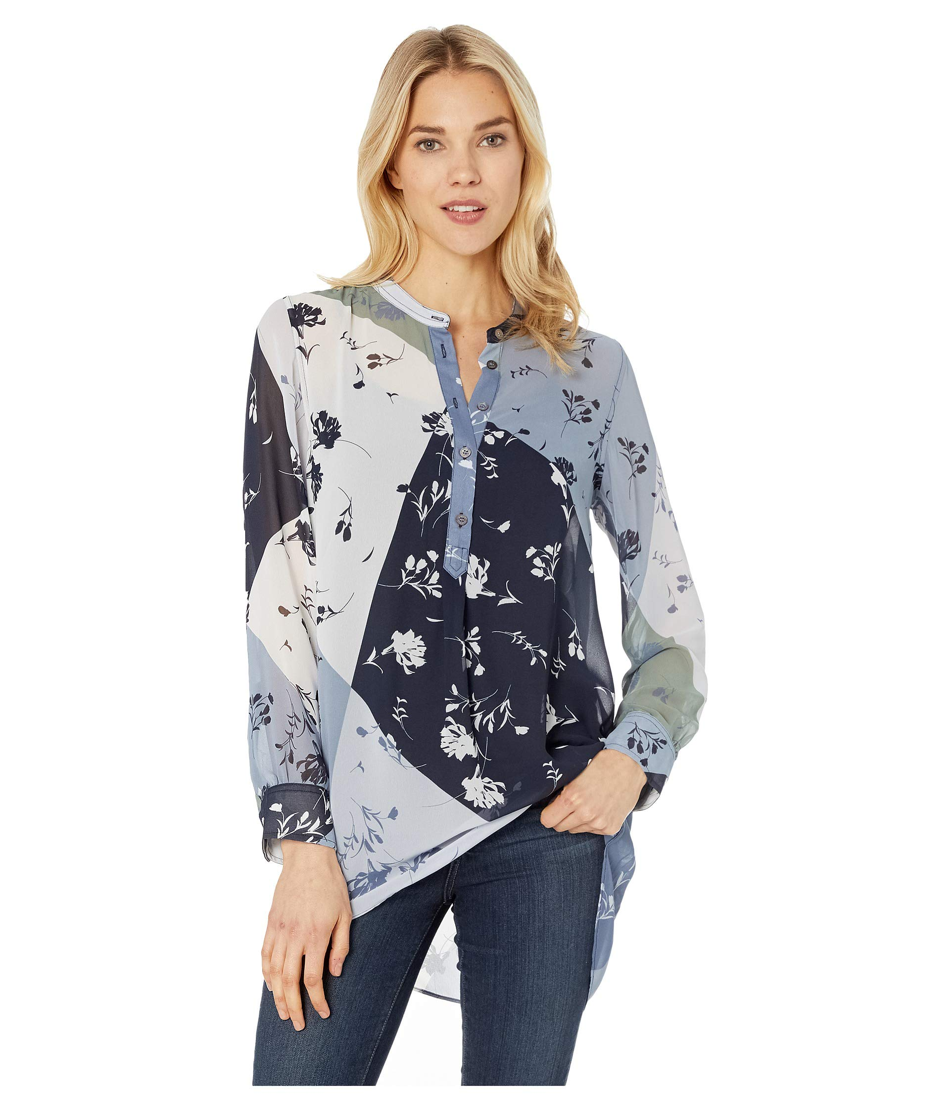 Henley Patchwork Sleeve Camuto Blue Tunic Antique Vince Floral Long xAqfWw