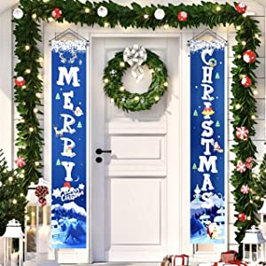 Merry Christmas Decorations for Home Xmas Front Door Decorations,Blue Merry Christmas Door Banner for Outdoor,Christmas Porch Sign Hanging Decorations for Inside Outside Wall